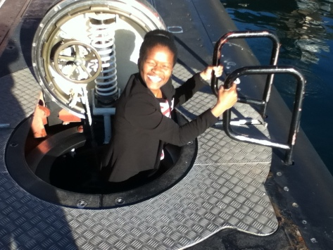 """Emerging from a submarine with the biggest smile. One of the coolest things I have ever been inside of."" Image: Provided"