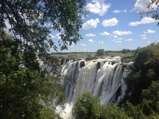 Gorgeous Victoria Falls. Any closer and you get drenched - which is not entirely unwelcome in the intense heat.