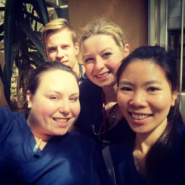 Tash (front left) and friends from her elective at Chris Hani Baragwanath Hospital, the biggest hospital in South Africa. Image provided.