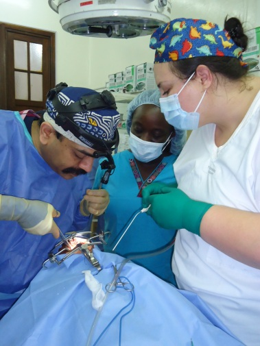 Tash assisting Dr Ankur, a plastic surgeon, during an Operation Smile mission.