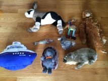 Stuffed animals collected by Alice's children.